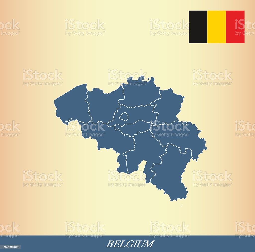 Belgium map outline vector and Belgium flag vector outline vector art illustration
