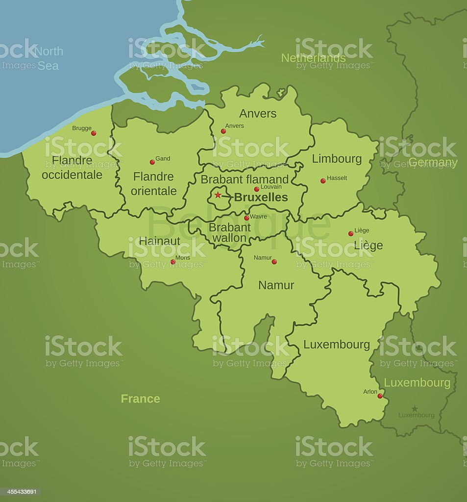 Belgium Map showing Provinces in French vector art illustration