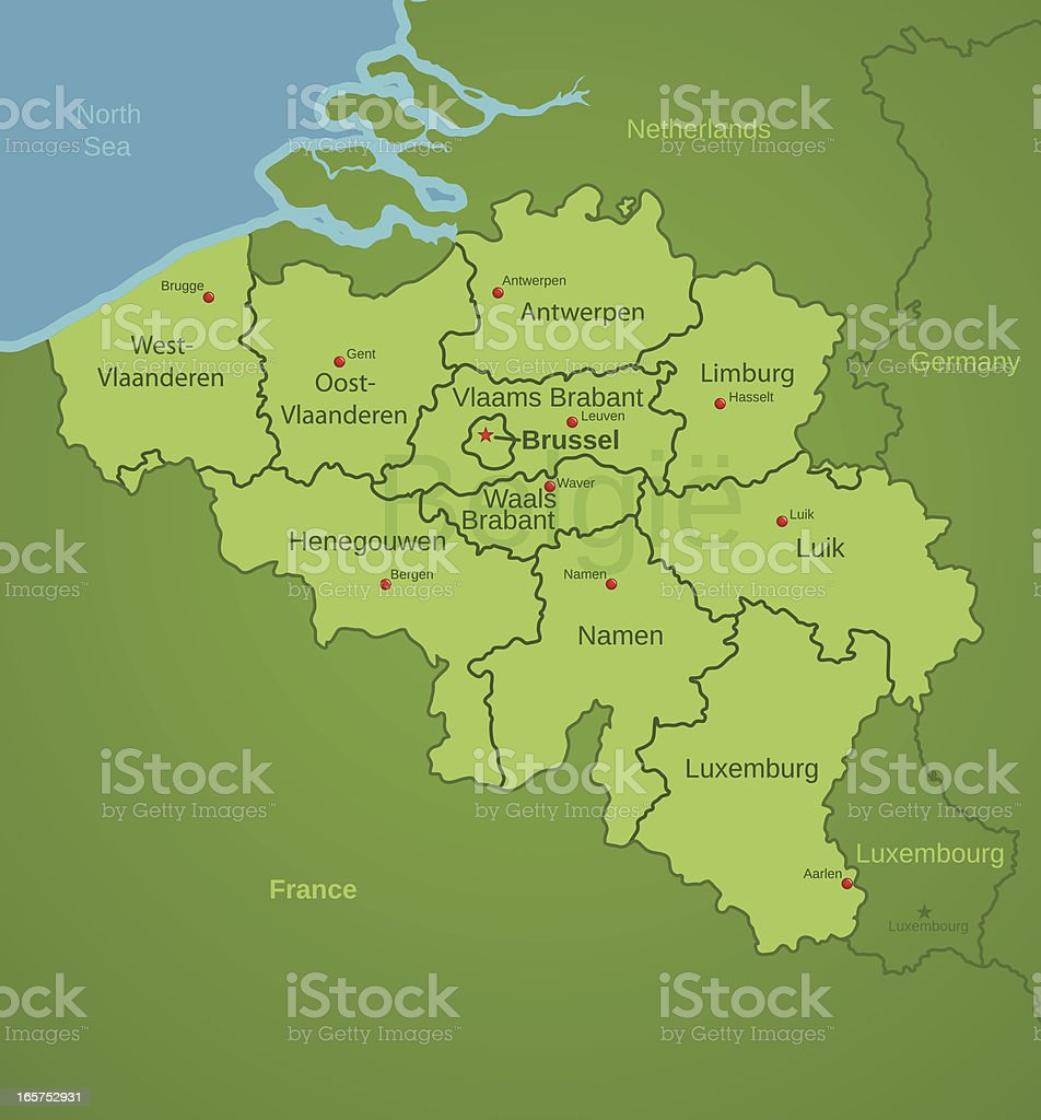 Belgium Map showing provinces royalty-free stock vector art