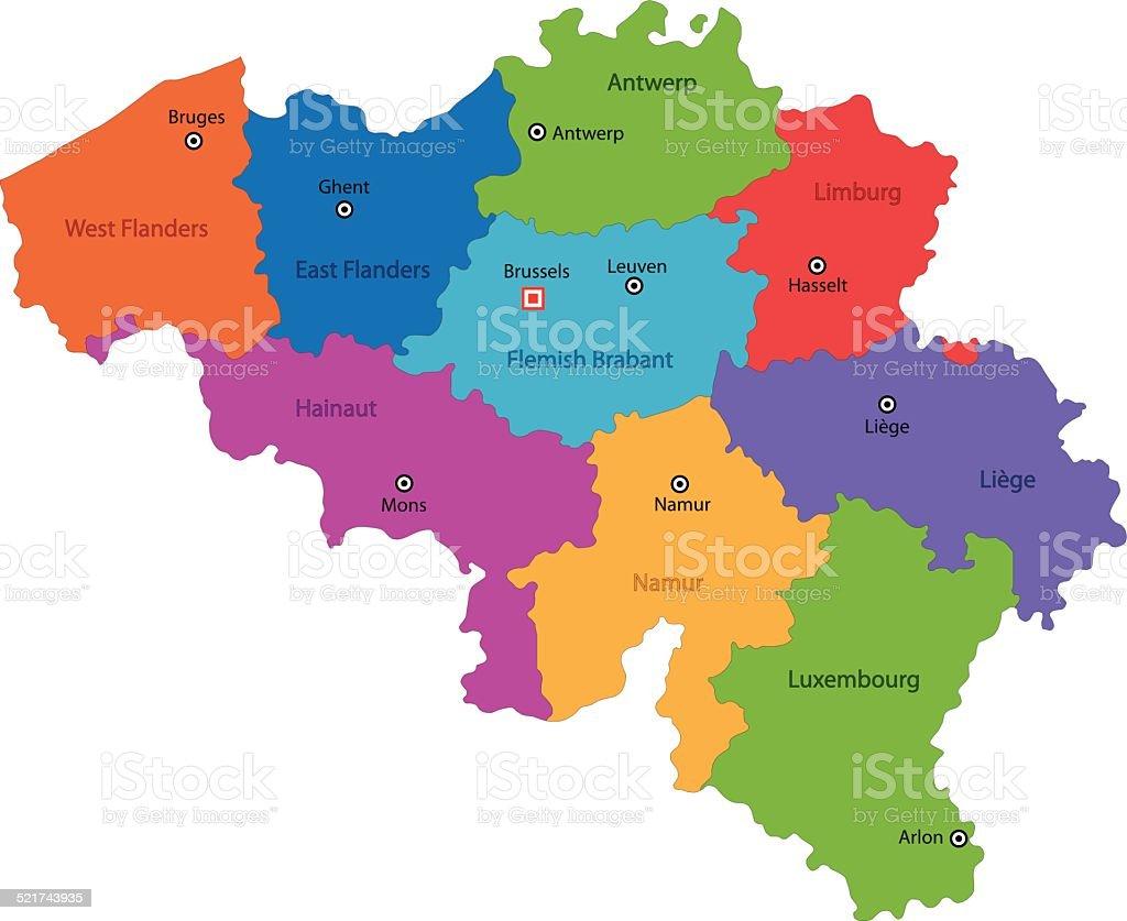 Mapa De Localização De Pontos De Vetor Localização De: A Bélgica Mapa Vetor E Ilustração Royalty-Free