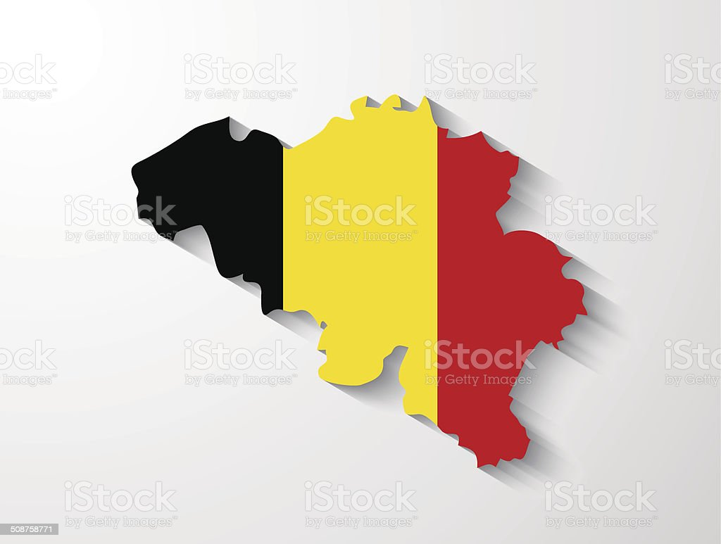 Belgium map with shadow effect vector art illustration