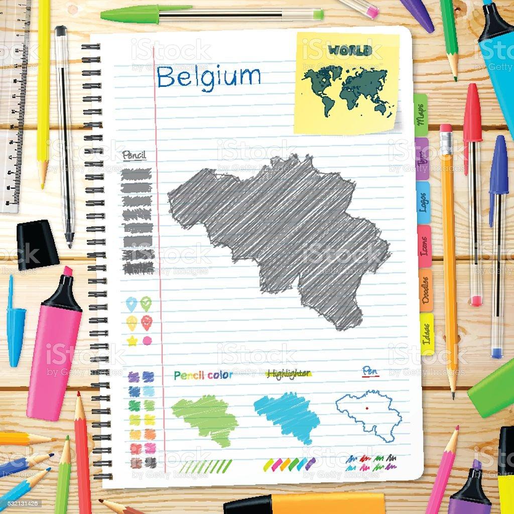 Belgium maps hand drawn on notebook. Wooden Background vector art illustration