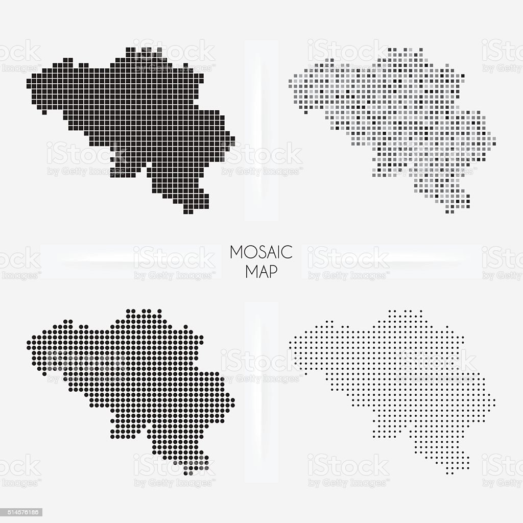 Belgium maps - Mosaic squarred and dotted vector art illustration