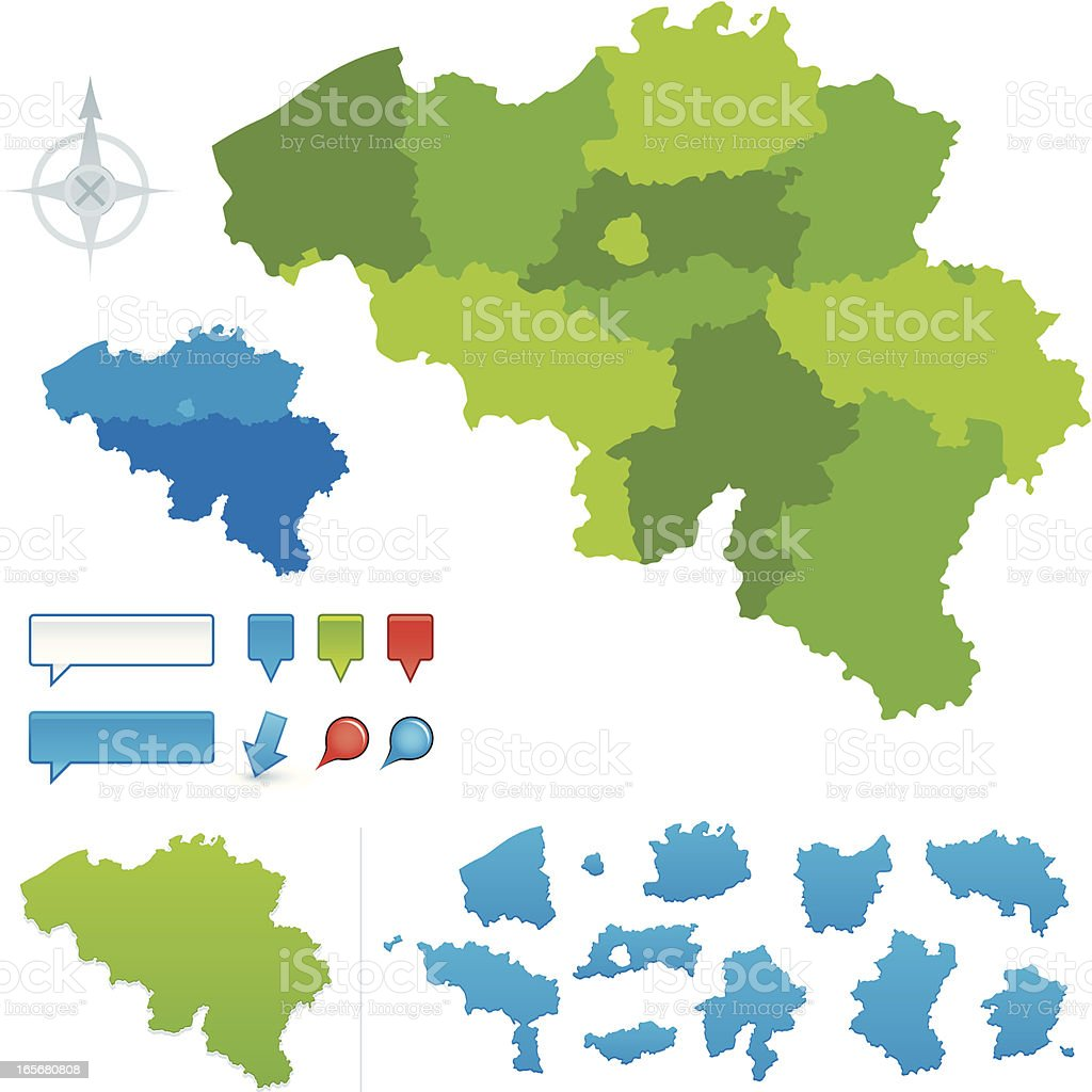 Belgium Provincial map vector art illustration