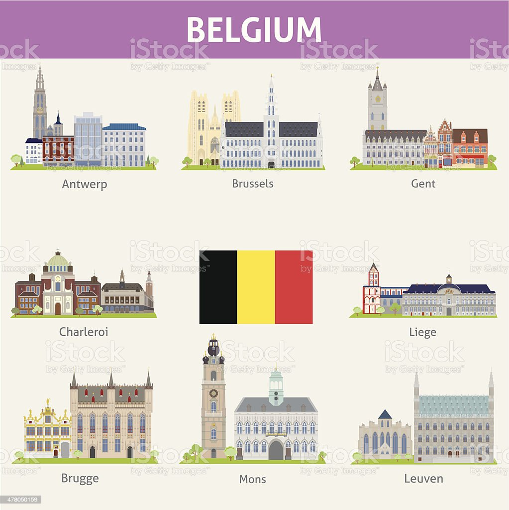 Belgium. Symbols of cities vector art illustration