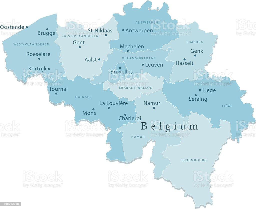 Belgium Vector Map Regions Isolated vector art illustration
