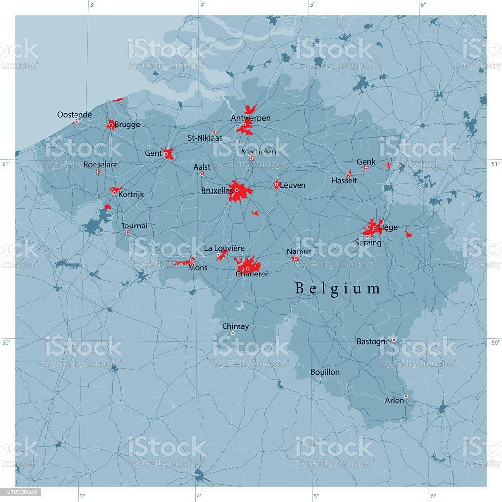 Belgium Vector Road Map vector art illustration