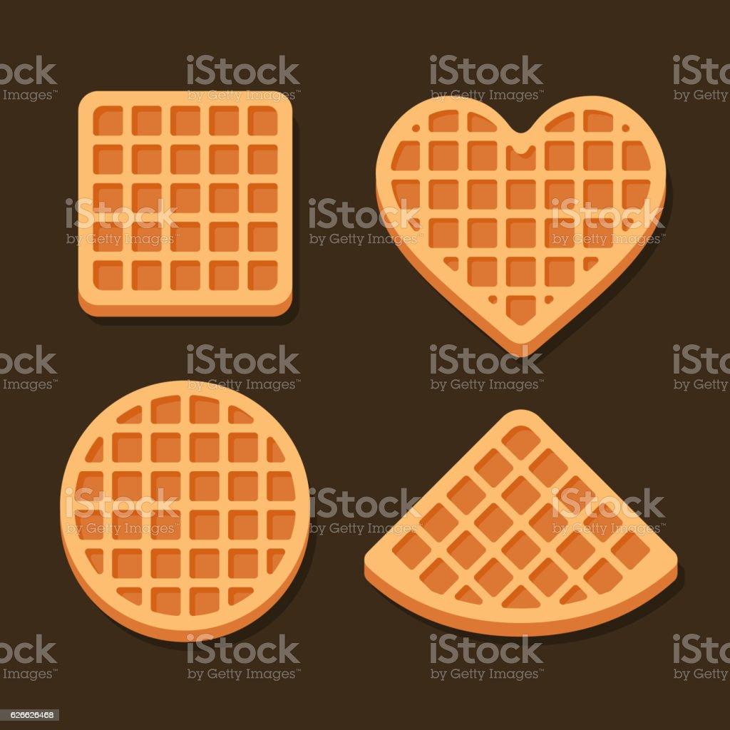 Belgium Waffles Icon Set on Dark Background. Vector vector art illustration