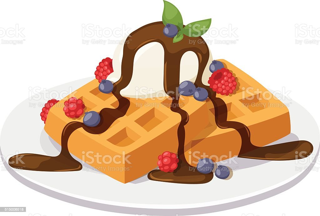 Belgium waffles with chocolate cream, ice cream and strawberries isolated vector art illustration