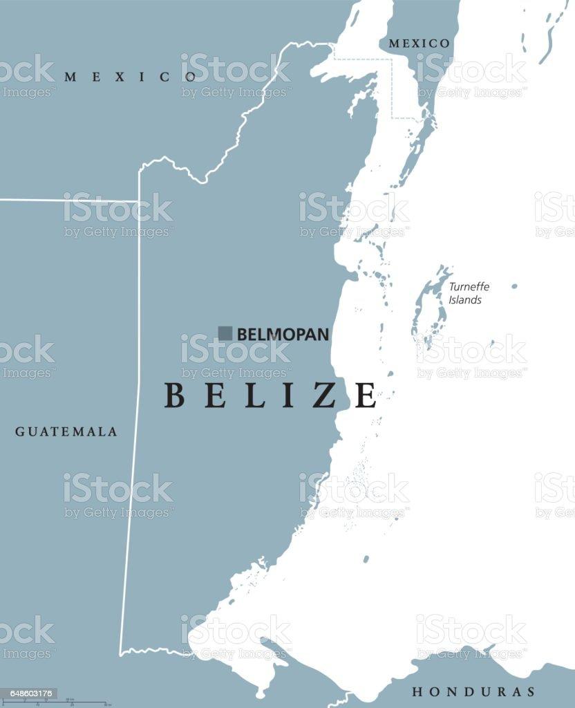 Belize political map vector art illustration