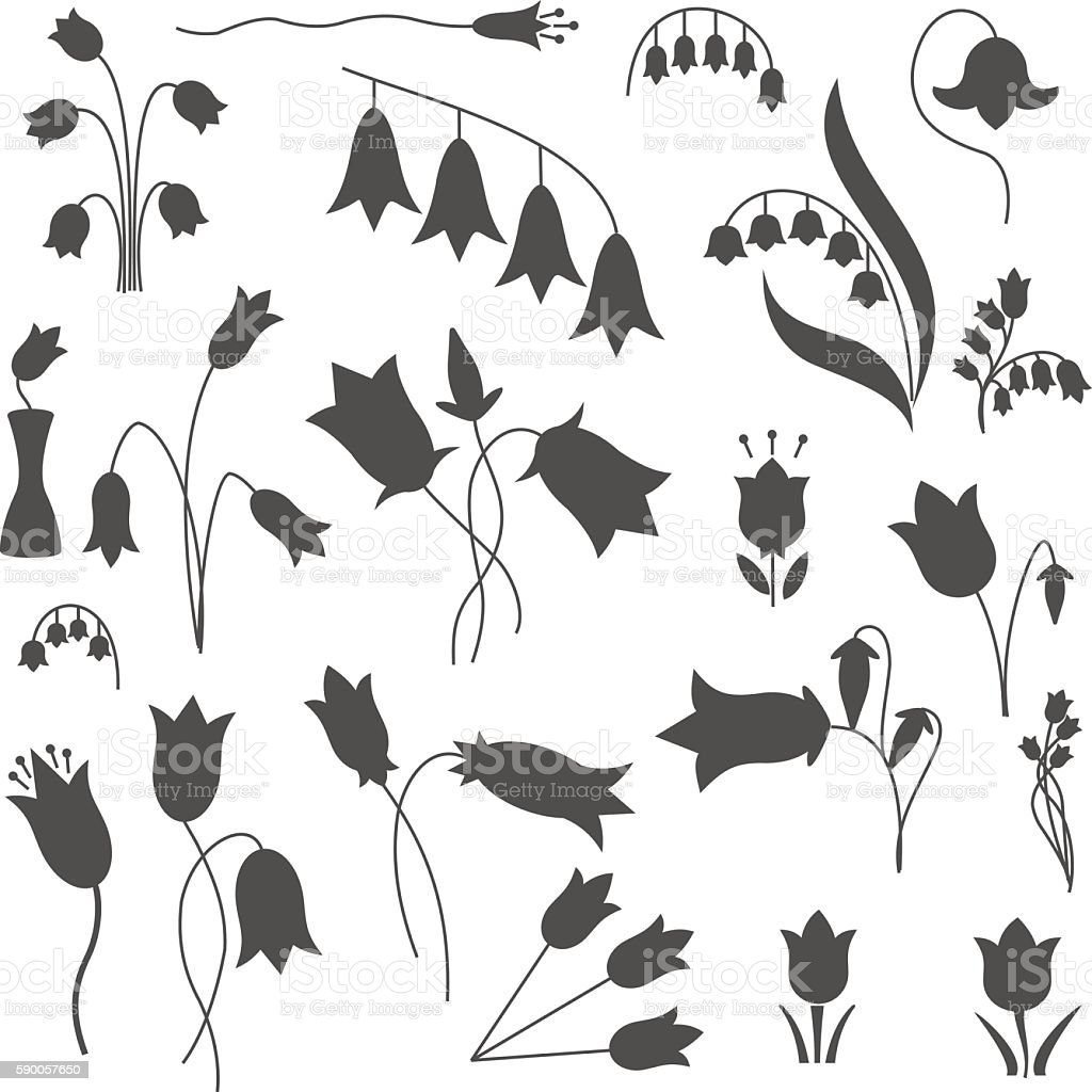 Bell flower illustration set. vector art illustration