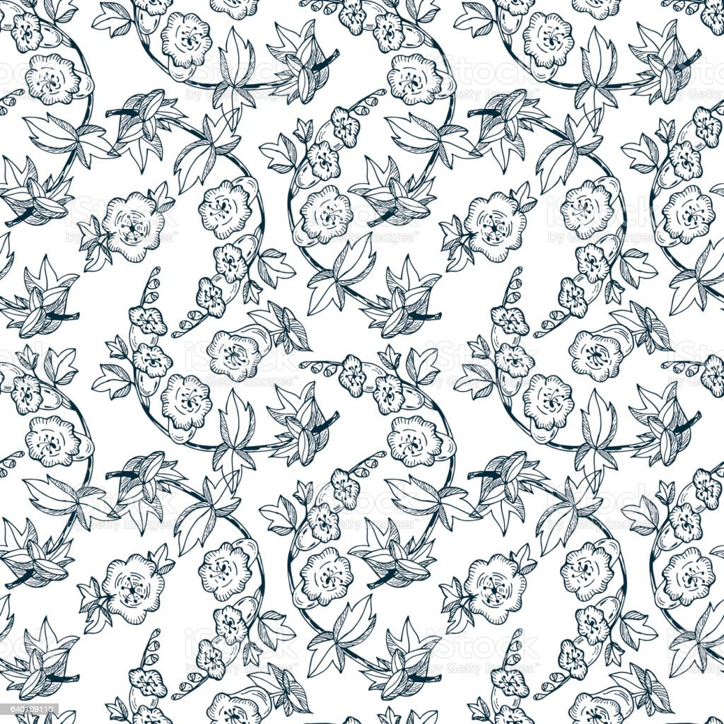 Bell flowers. Seamless pattern with flowers. Vintage floral wallpaper. vector art illustration