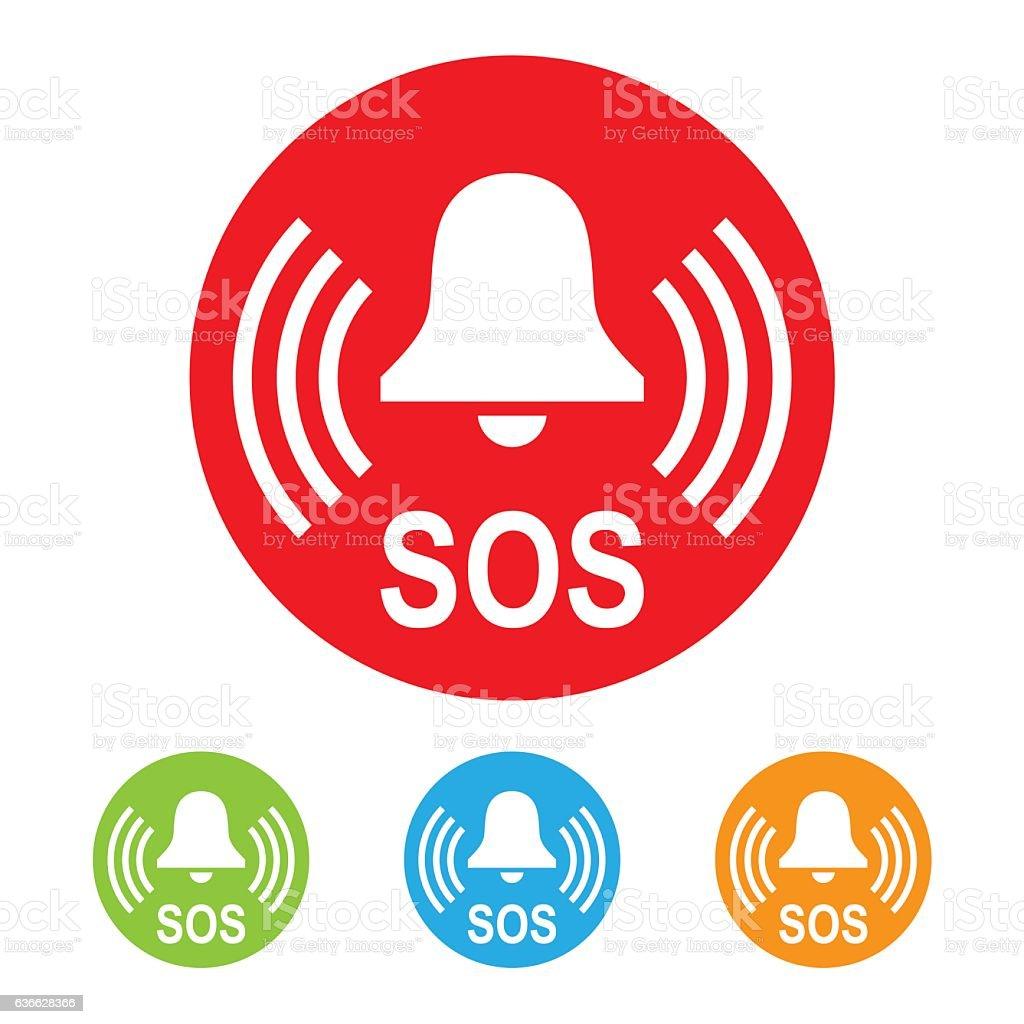 SOS Bell Icon vector art illustration