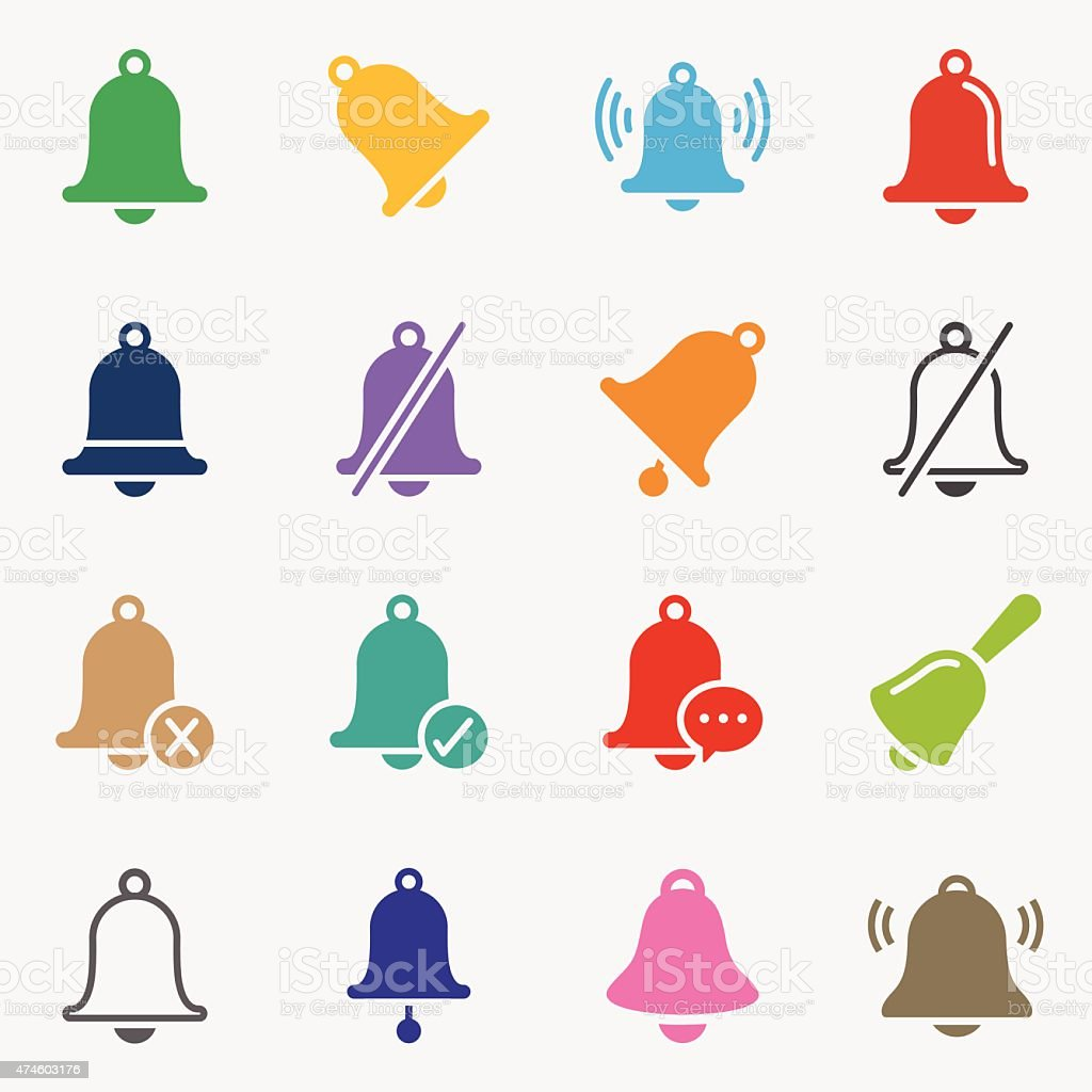 Bell Icons - Background vector art illustration