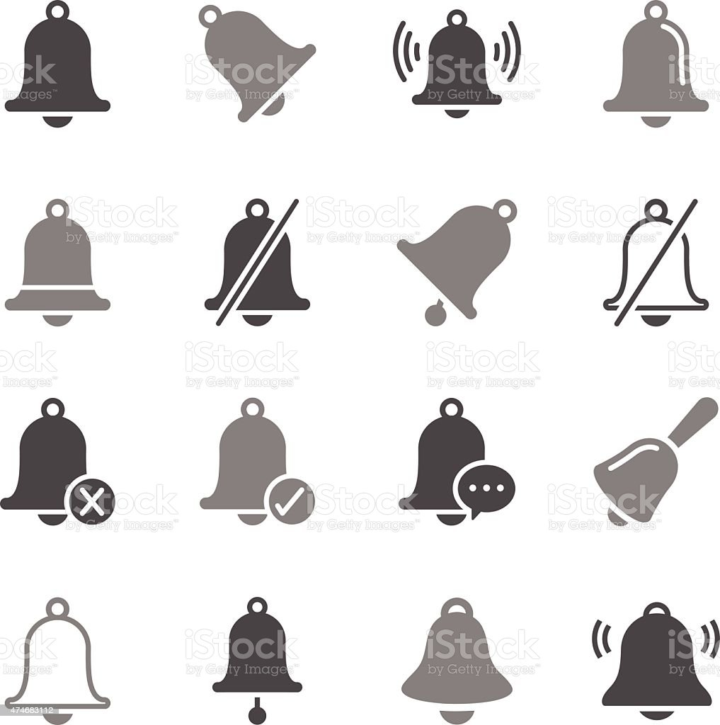 Bell Icons Gray Color vector art illustration