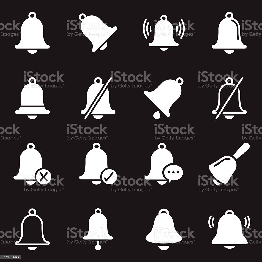 Bell Icons | White Series vector art illustration