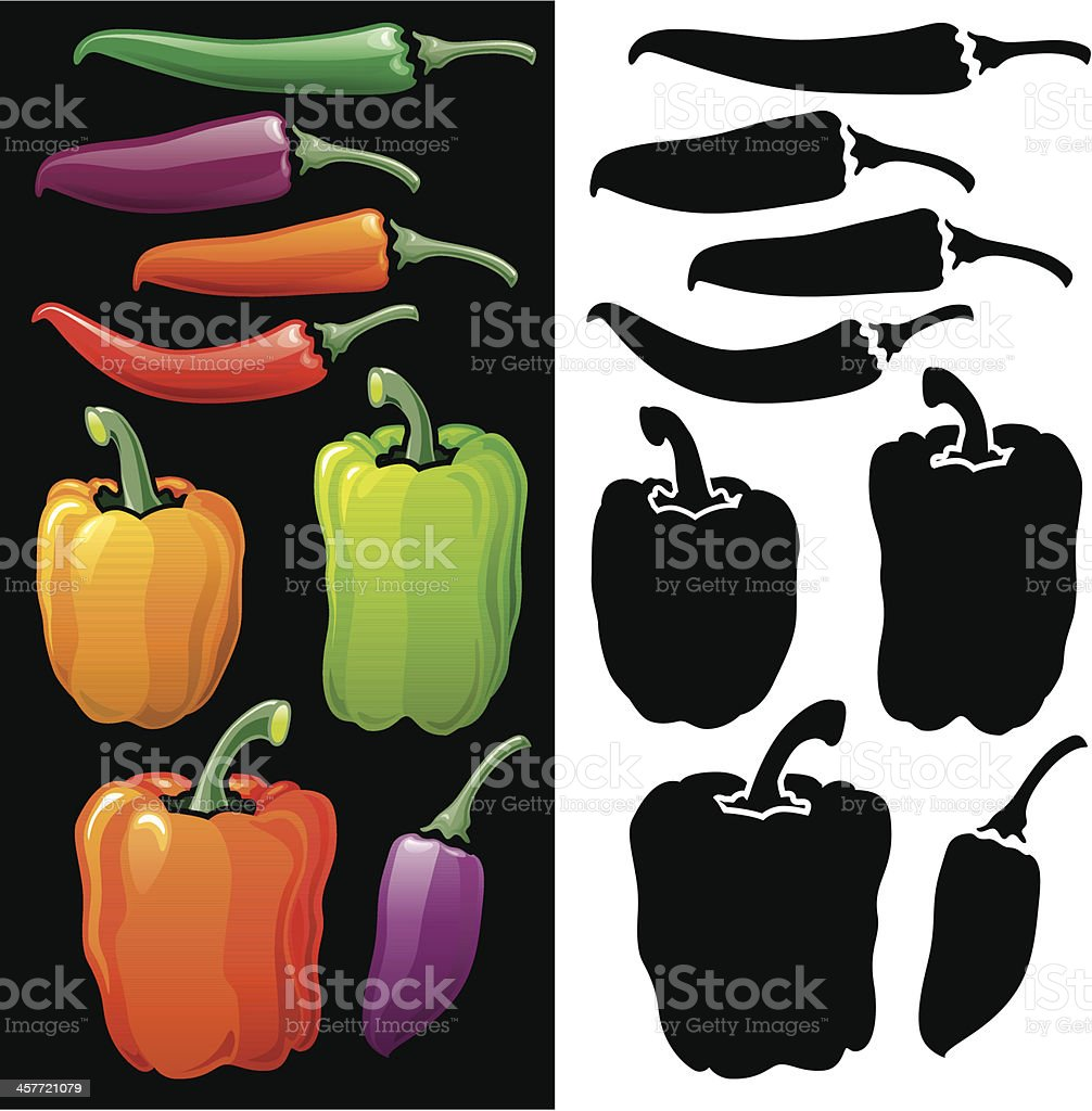 Bell Peppers and Chilli icon set vector art illustration