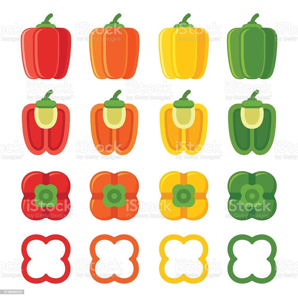 Bell peppers set vector art illustration