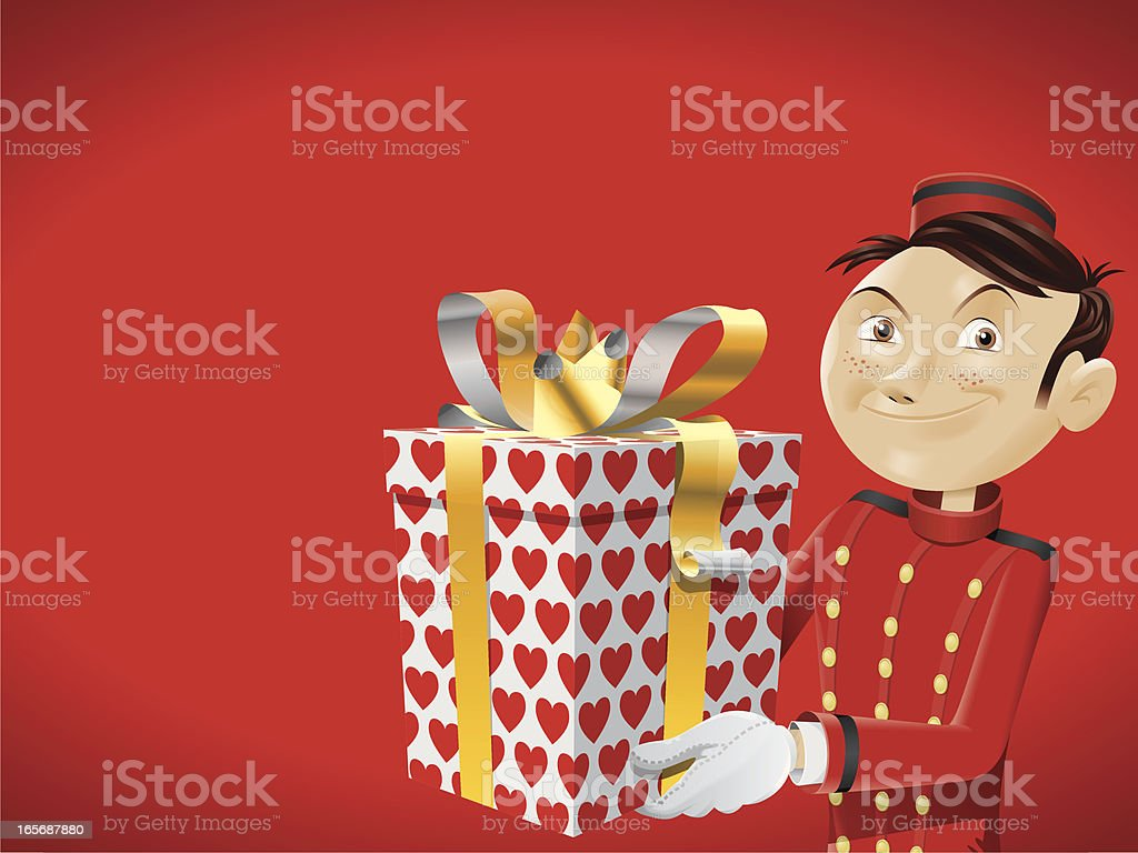 bellboy brings a gift for you - pattern hearts royalty-free stock vector art