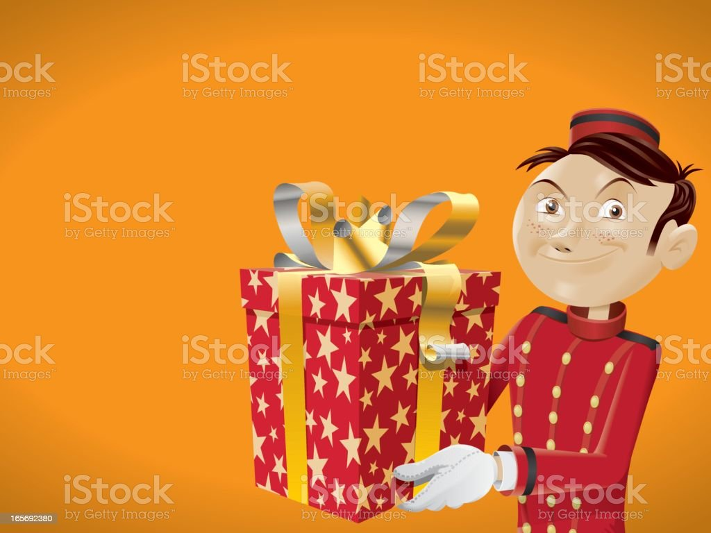 bellboy brings a gift for you royalty-free stock vector art