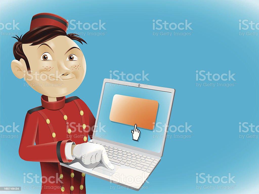 bellboy doing online bookings royalty-free stock vector art