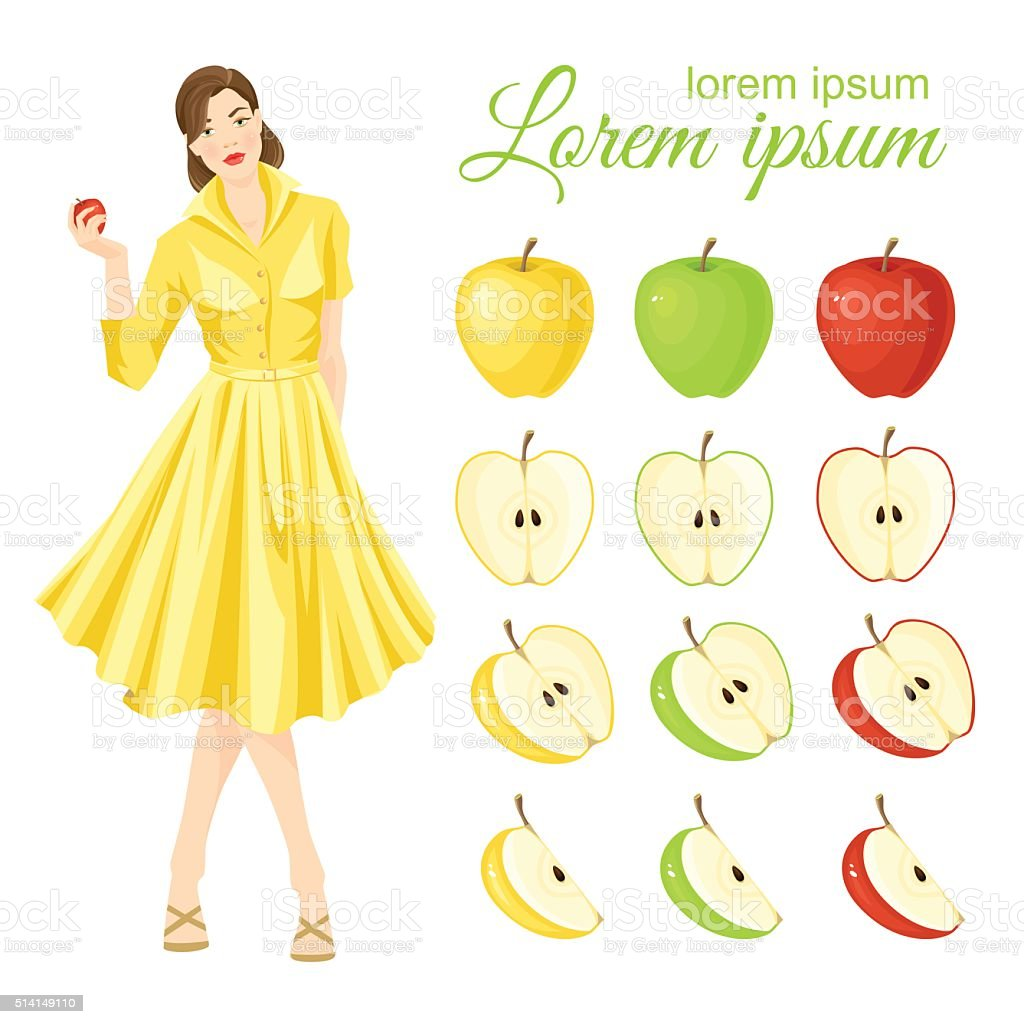 Belle girl in fifties retro dress holding apple in her hand vector art illustration
