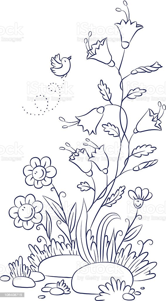 Bellflower with chamomiles and bird royalty-free stock vector art