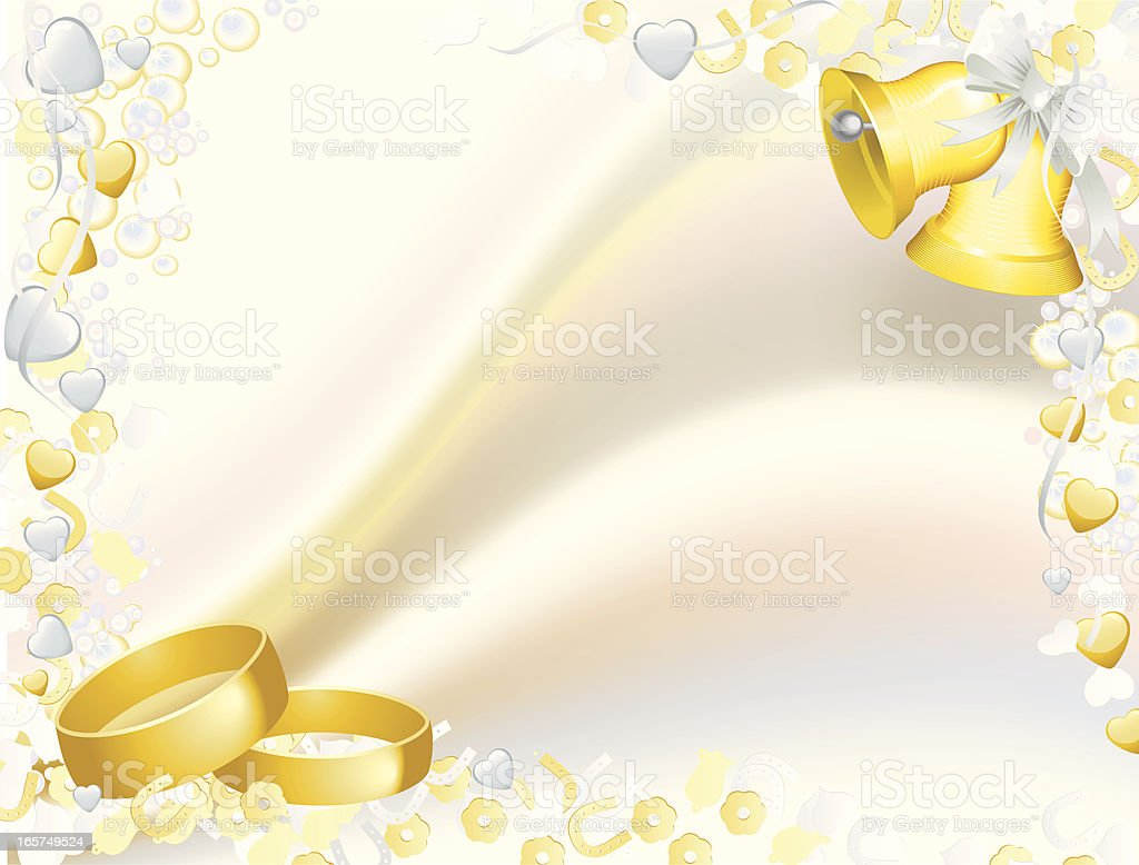 Bells and rings, Satin wedding Background royalty-free stock vector art
