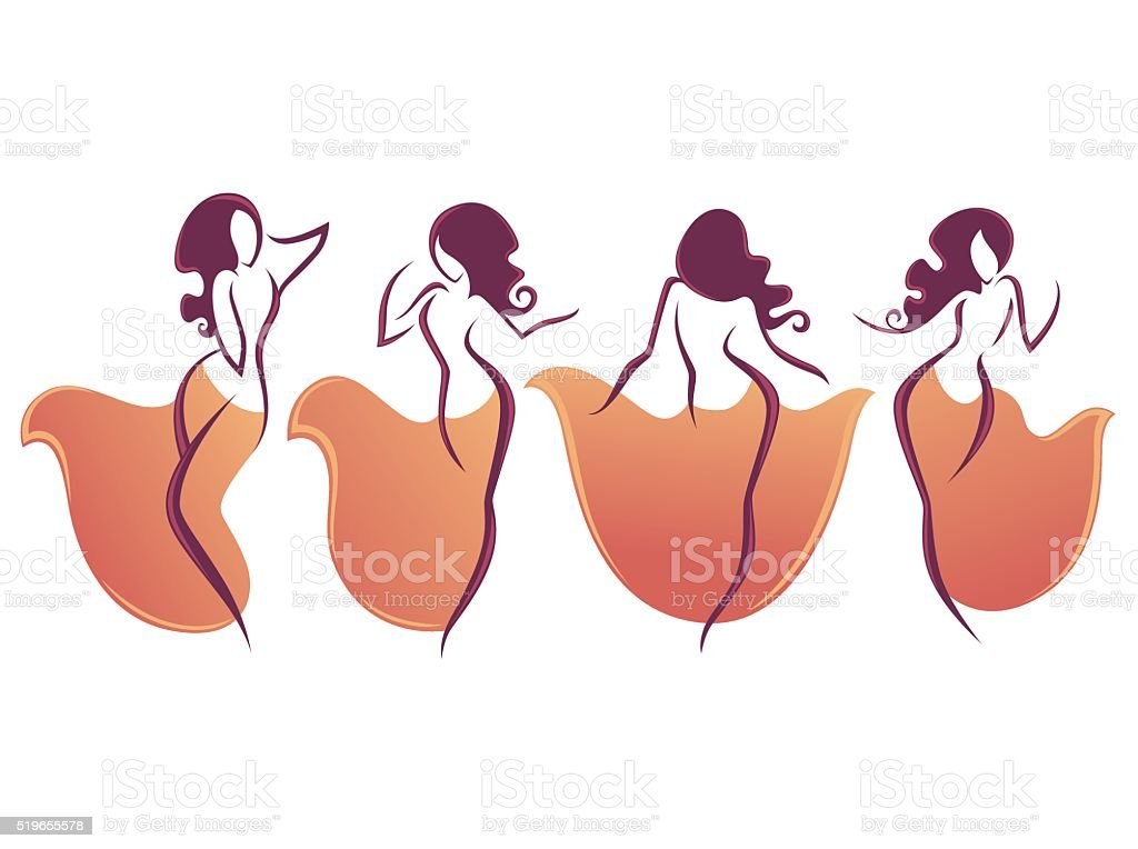 belly dance vector collection of dancing girls.. vector art illustration