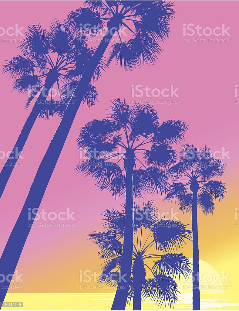 A below view of Palm trees with a pink sunrise behind them vector art illustration