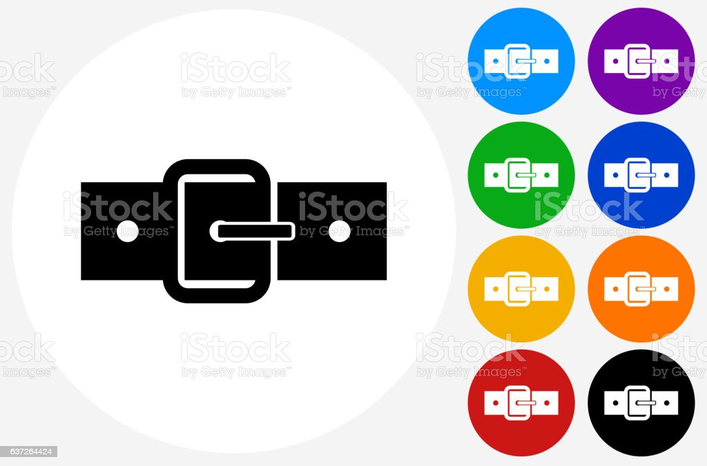Belt Icon on Flat Color Circle Buttons vector art illustration