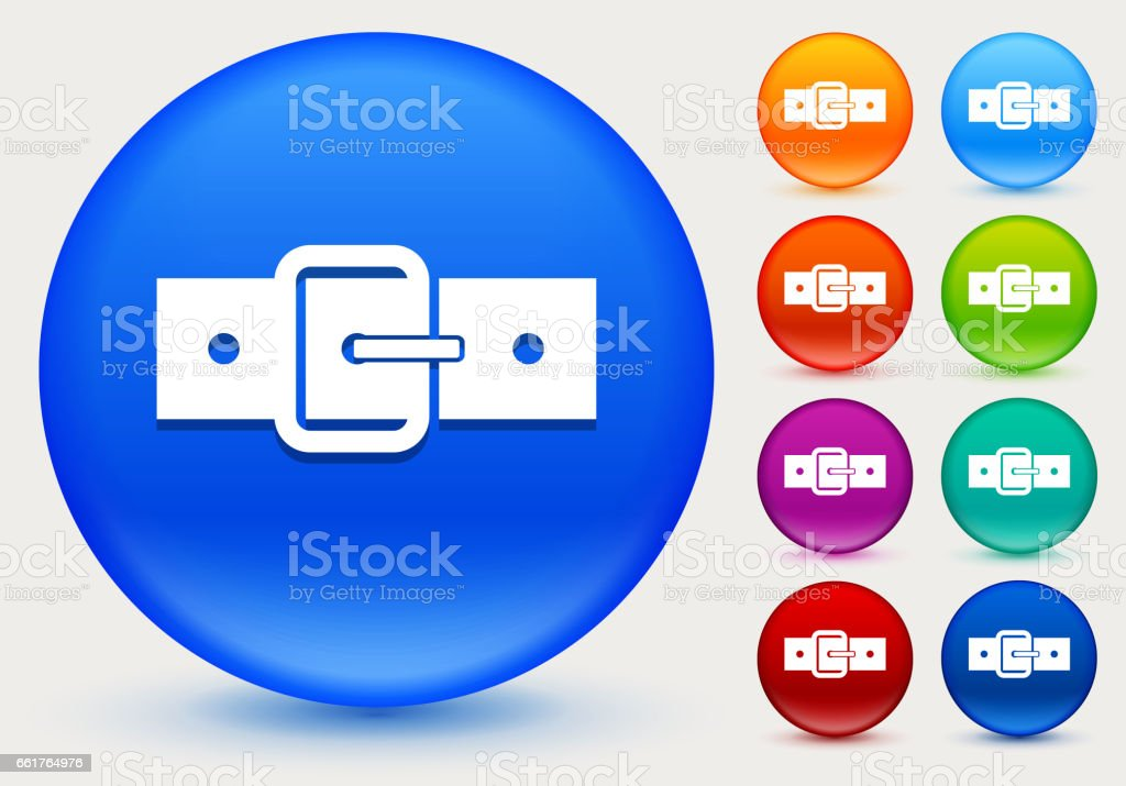 Belt Icon on Shiny Color Circle Buttons vector art illustration