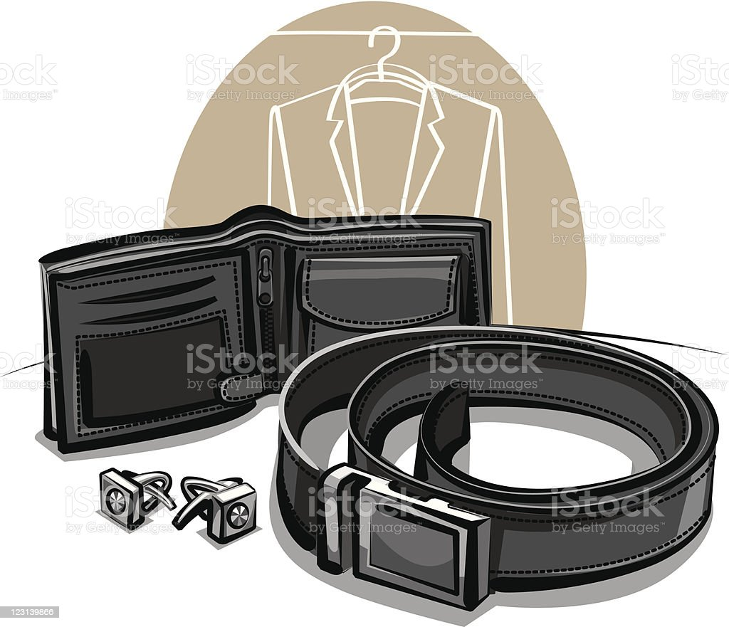 belt, wallet and cuff links royalty-free stock vector art