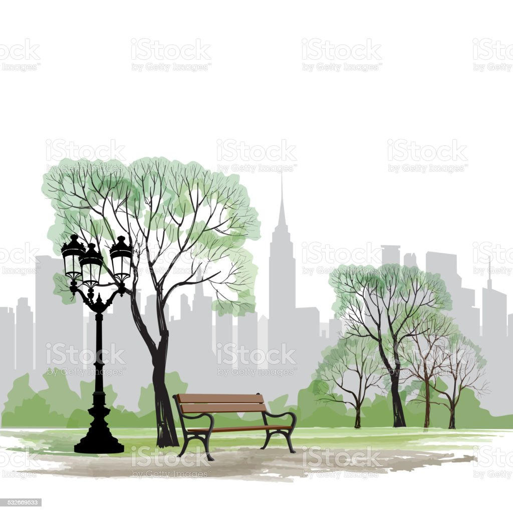 Bench and streetlight in park over city background. Spring cityscape. vector art illustration
