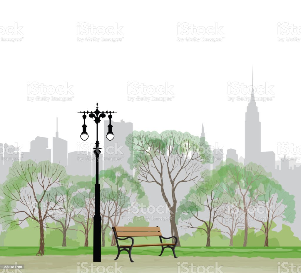 Bench and streetlight in park over city background. vector art illustration
