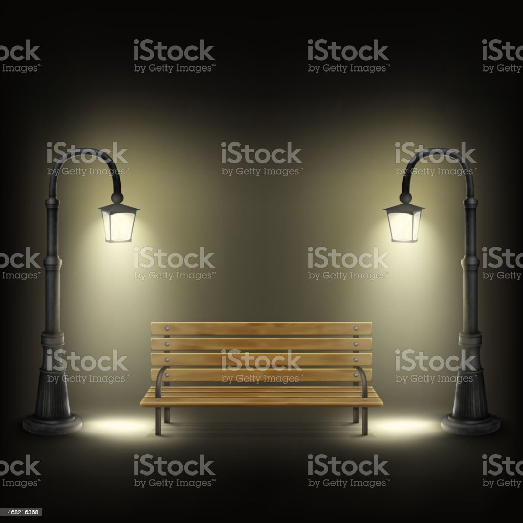 Bench Illuminated By Street Lamps. vector art illustration