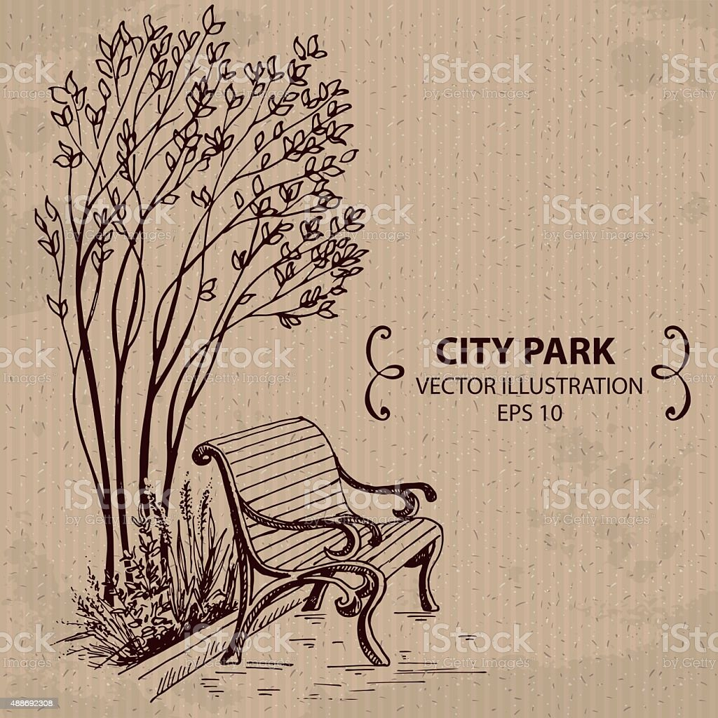 Bench in the City Park vector art illustration