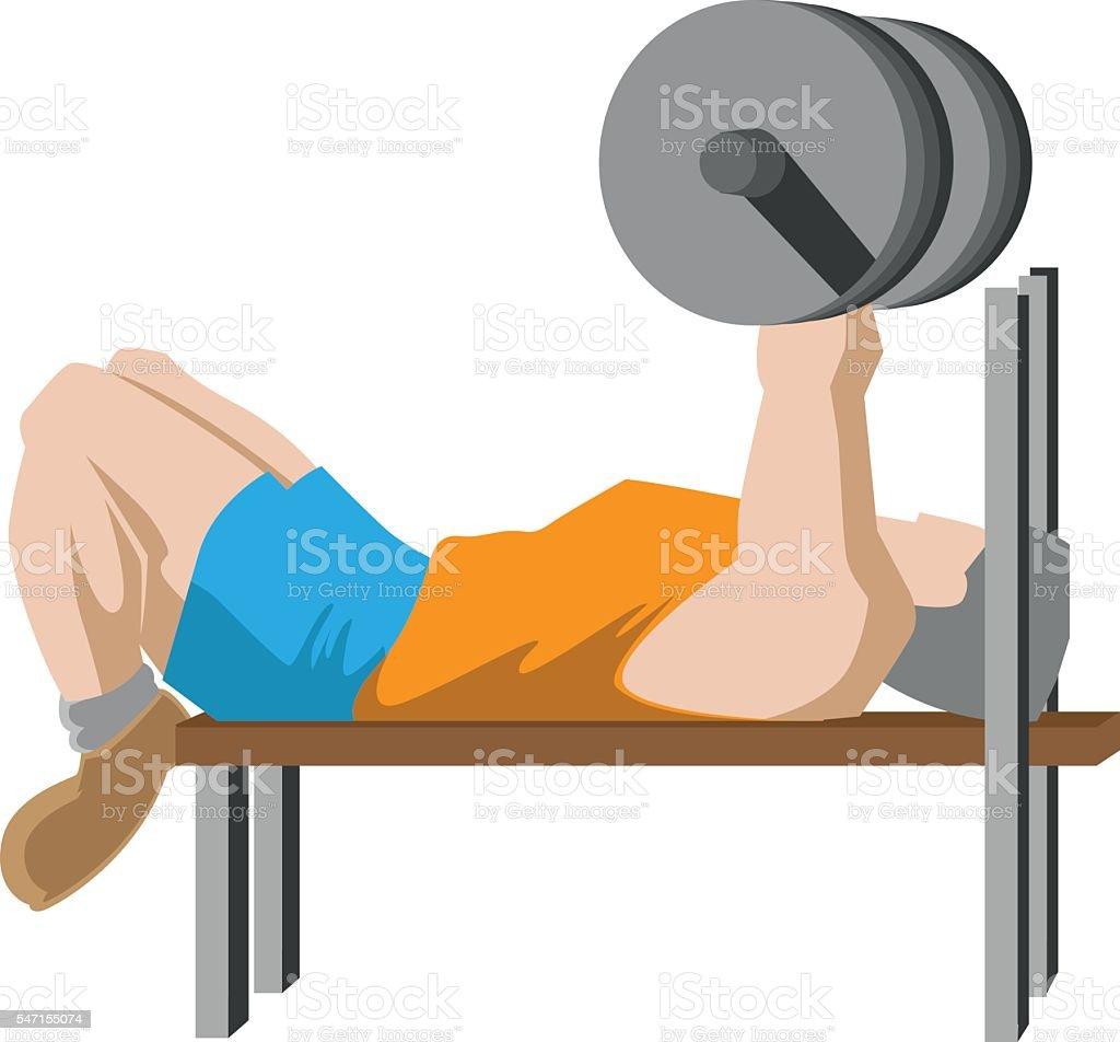 Bench pressing vector art illustration