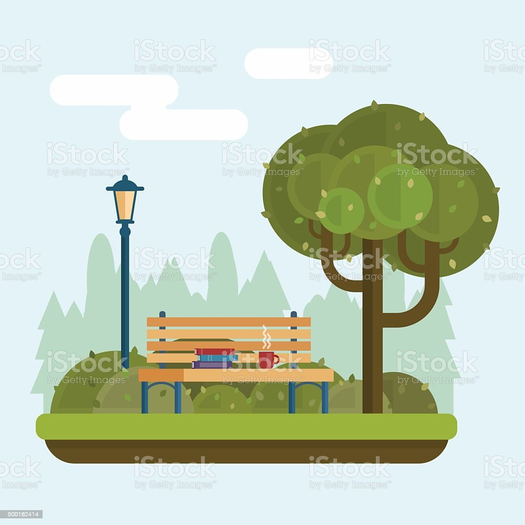 Bench under a tree in the park. vector art illustration