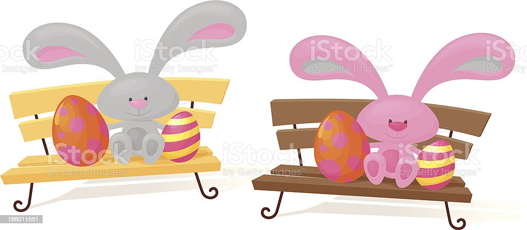 Benched Bunnies royalty-free stock vector art
