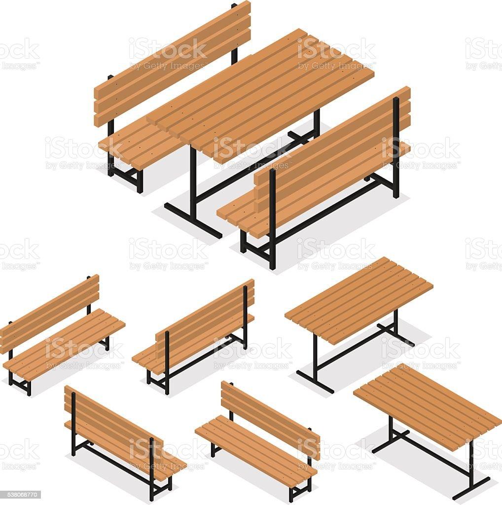 bancas y una mesa de comedor isomtricos plana un lugar para descansar libre