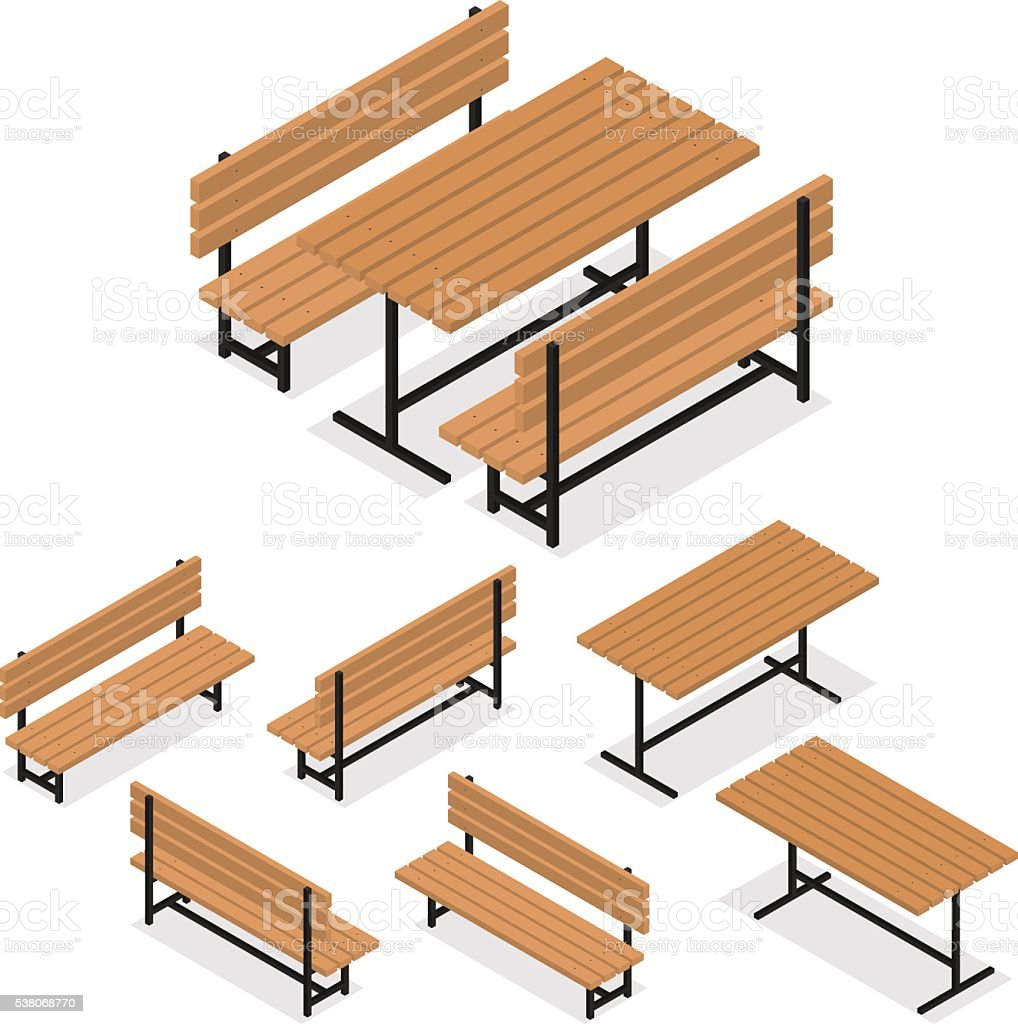 Benches and a table. Flat isometric. A place for rest vector art illustration