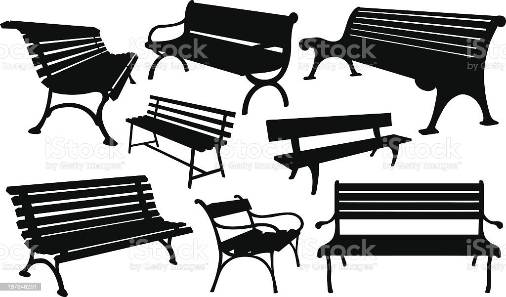 benches vector art illustration
