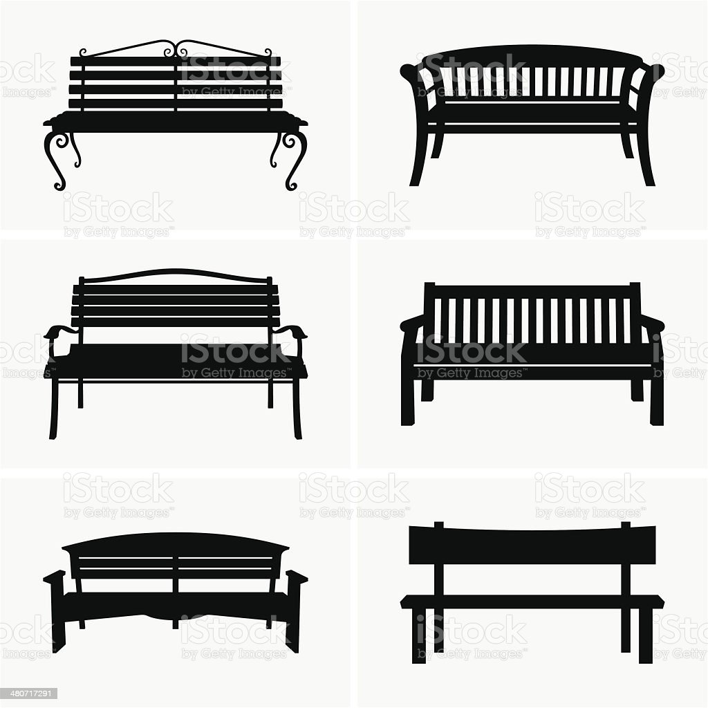 Benches vector art illustration