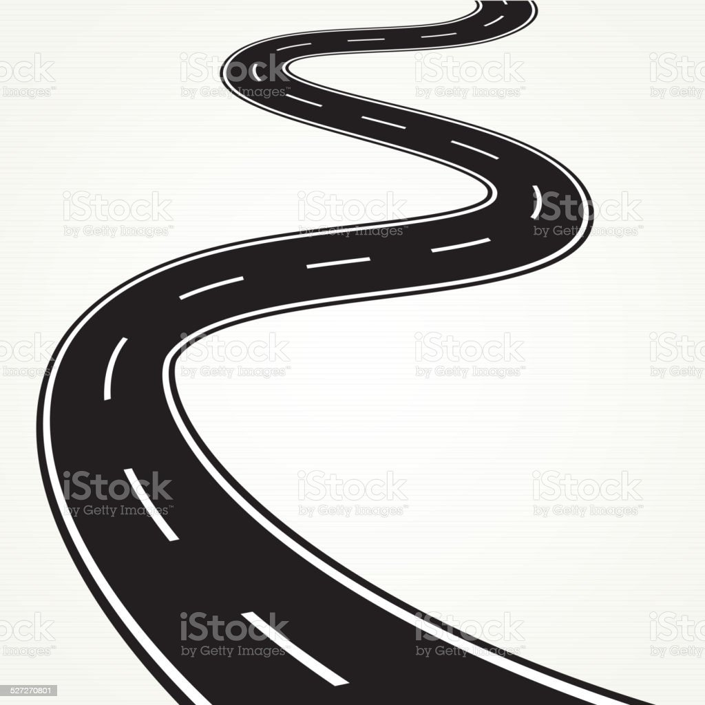 Bend road vector art illustration