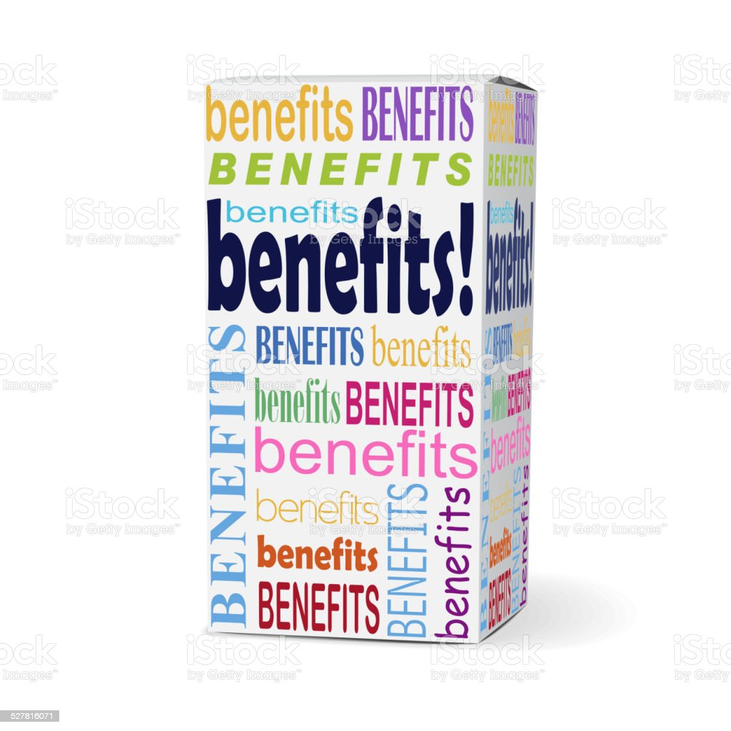 benefits word on product box vector art illustration