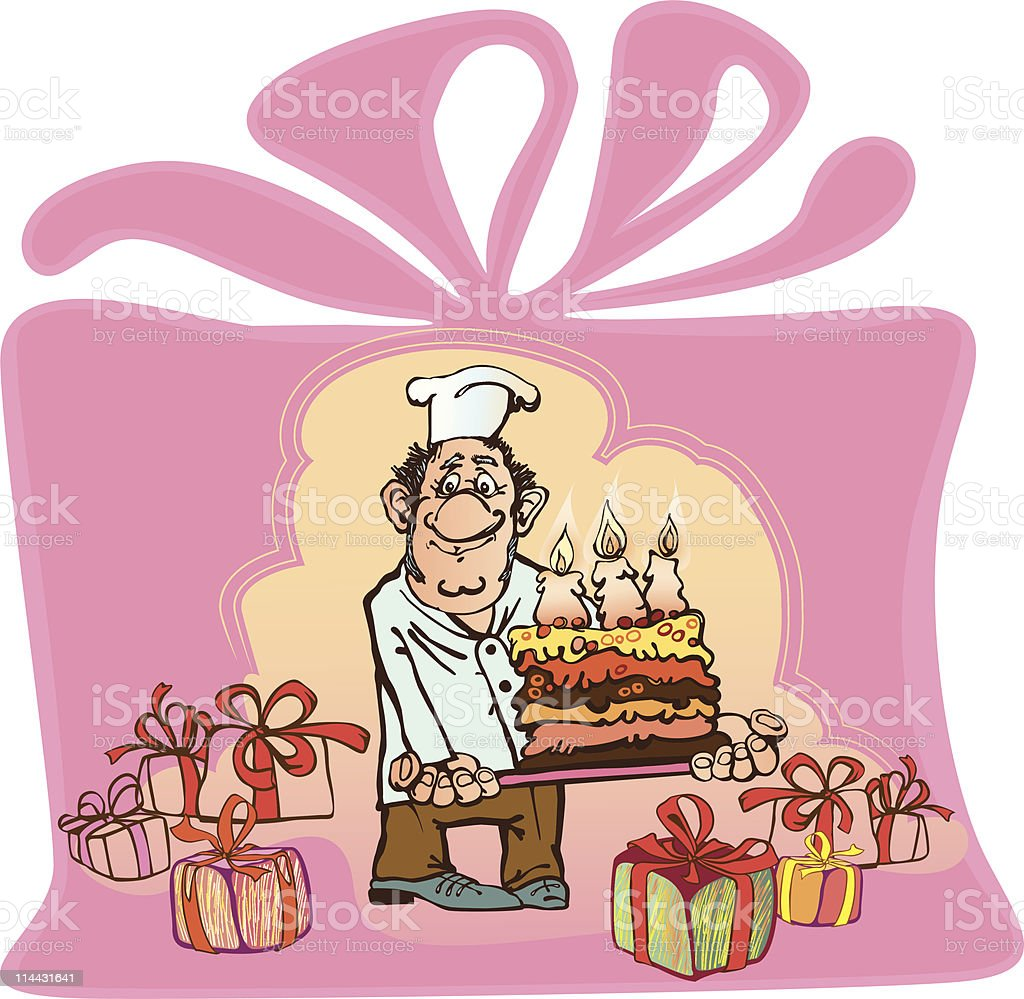 benevolent baker makes a cake with three candles royalty-free stock vector art