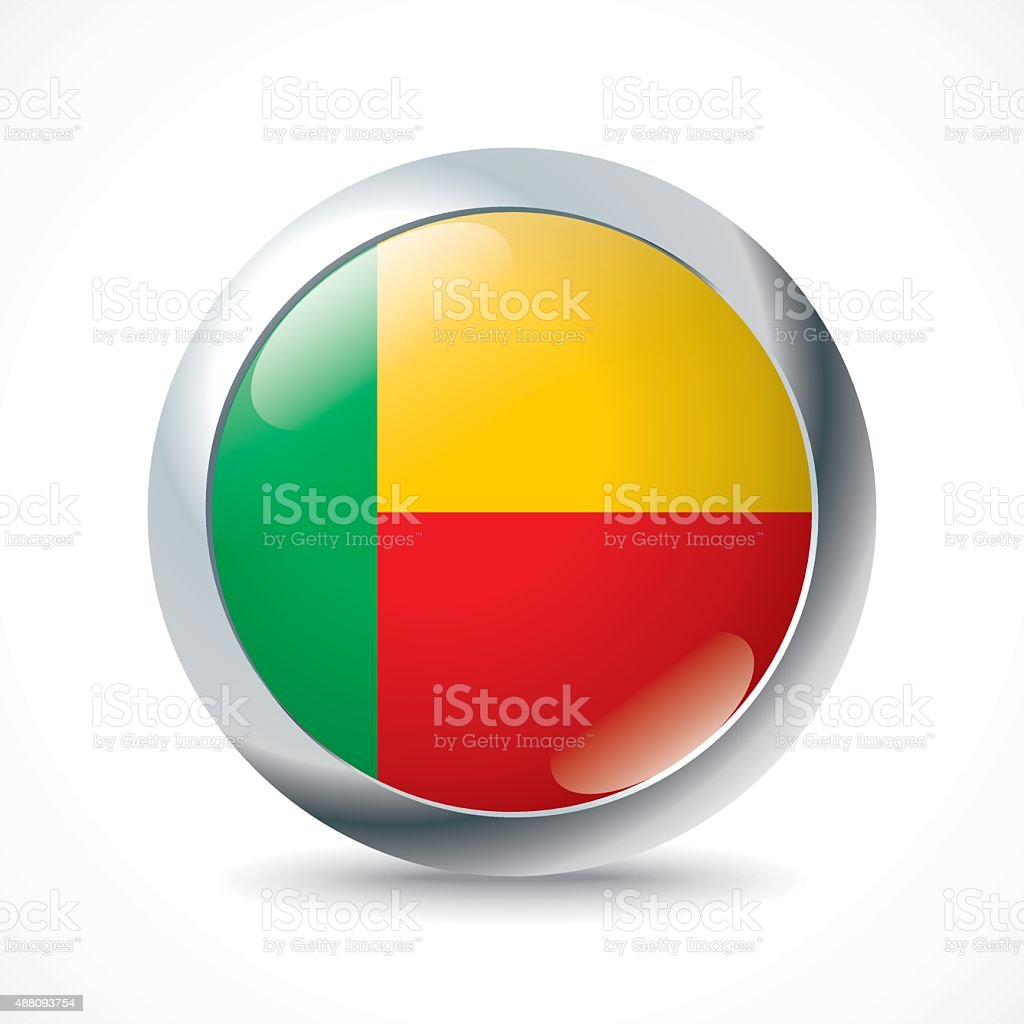 Benin flag button vector art illustration
