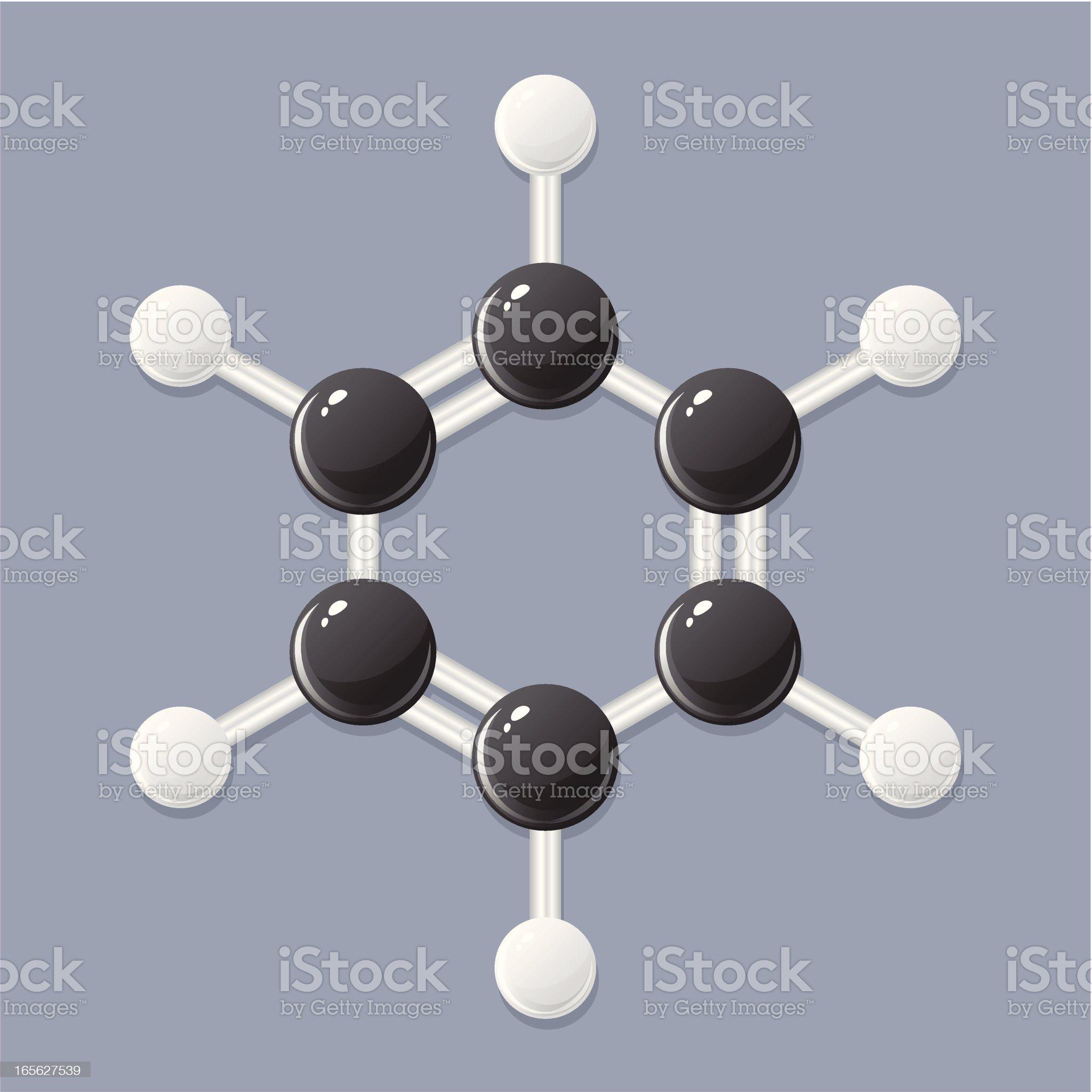Benzene molecule royalty-free stock vector art