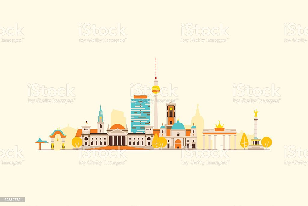 Berlin abstract skyline vector art illustration